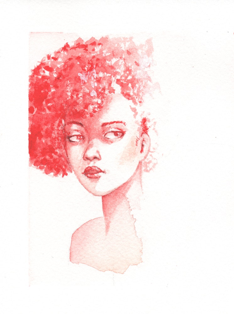 Pink-haired woman looking sideways