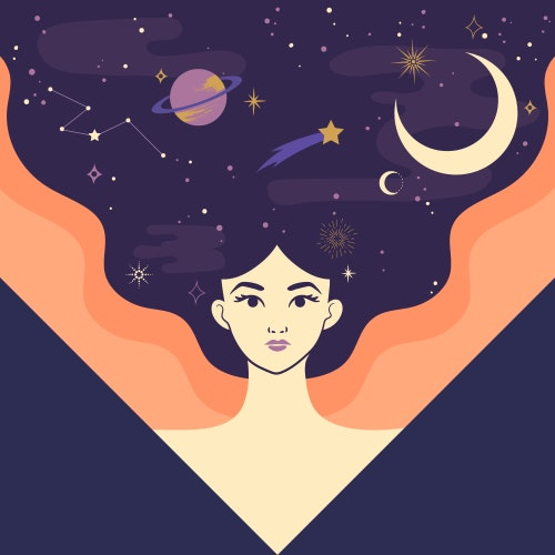 Powerful woman with the moon, stars, and planets in her flowing hair