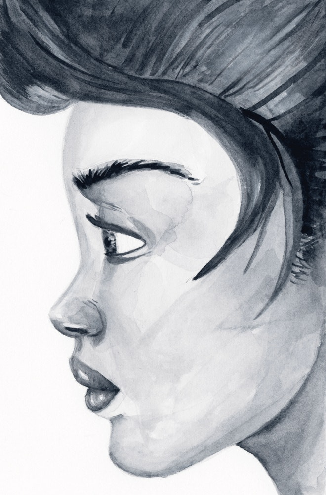 Profile sketch of a woman