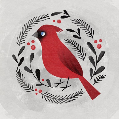 Red Cardinal bird surrounded by berries and branches