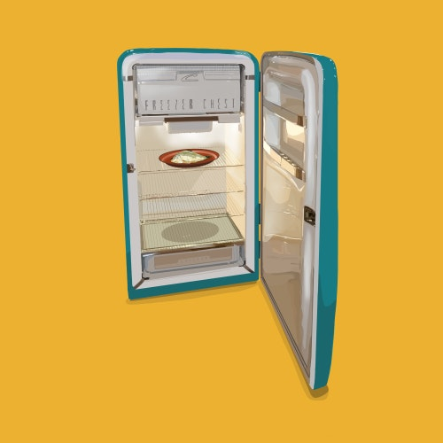 Refrigerator with the door open and nothing on the shelves