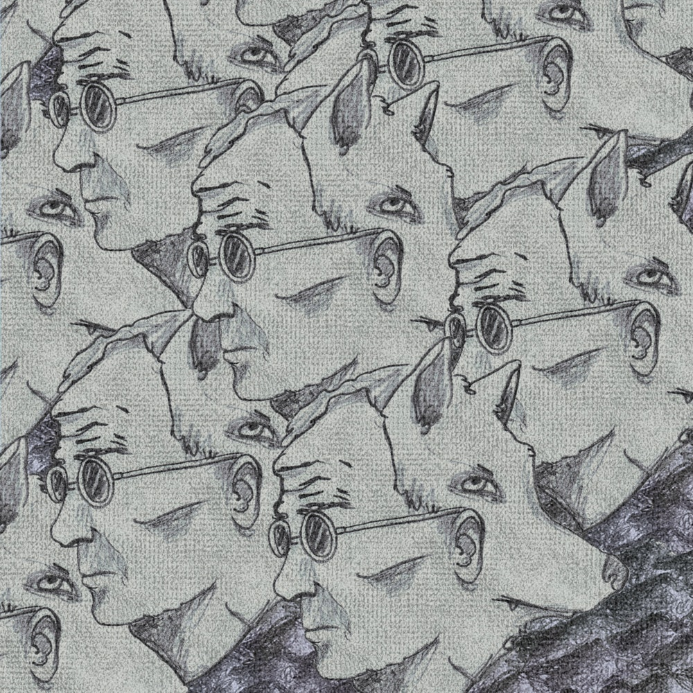 Repeating faces of a man and a wolf