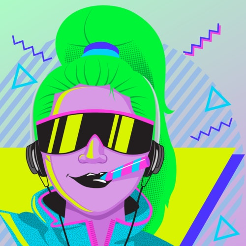 Retro, 80's style woman wearing sunglasses and listening to music on a walkman
