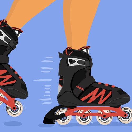 Rollerblades in motion