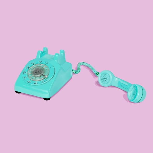 Rotary telephone with receiver off the hook