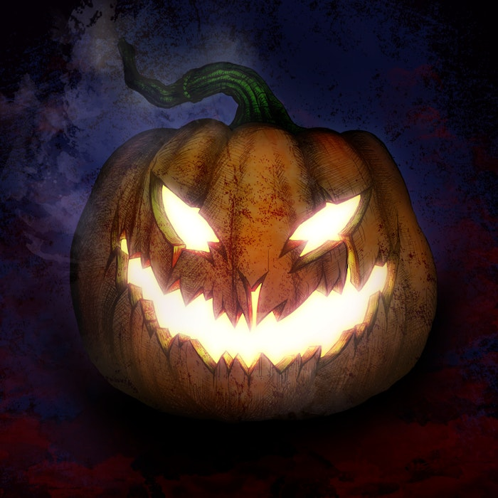 Scary carved pumpkin for Halloween