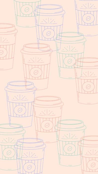 Series of takeaway coffee cups