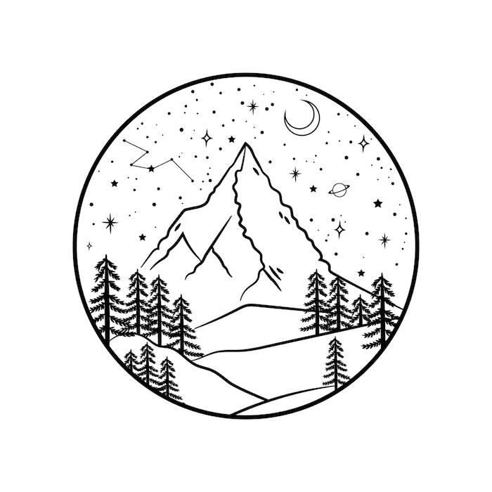 Single peak mountain under a clear, starry sky