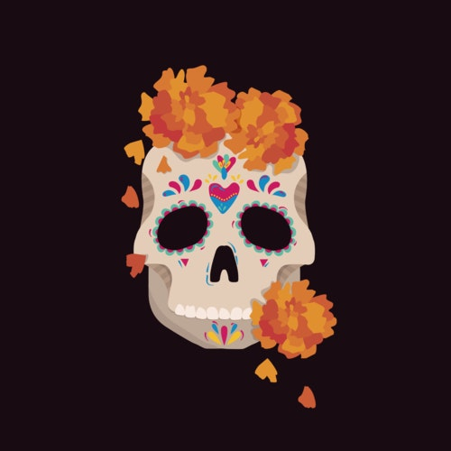 Skull brightly decorated for Day of the Dead celebrations