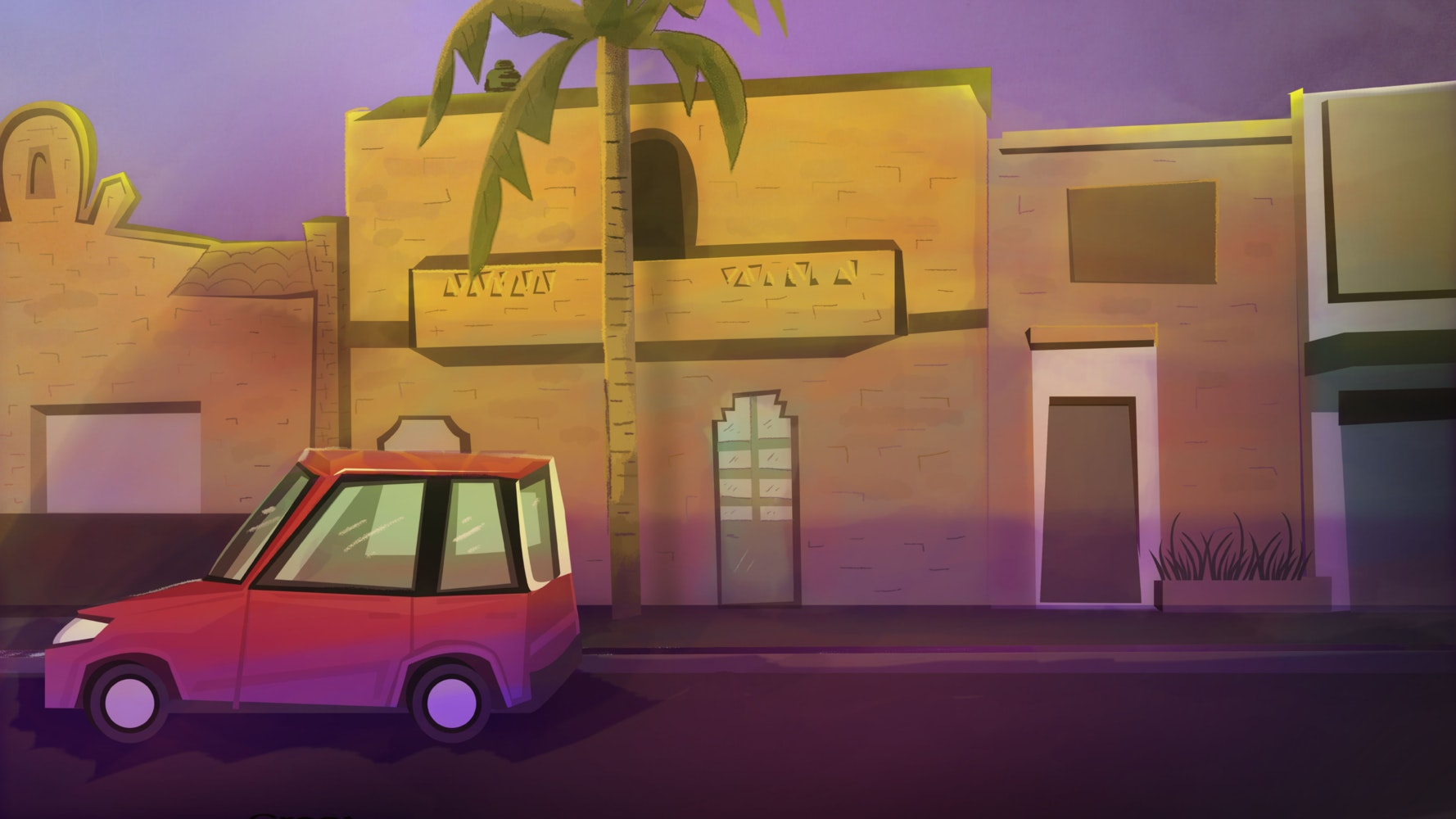 Small car parked in front of a building with a palm tree out front