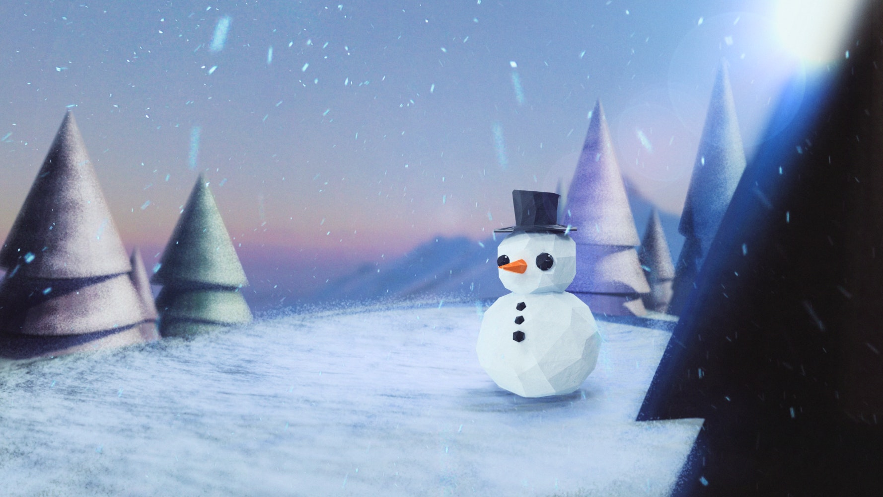 Snowman in a top hat on a frozen lake