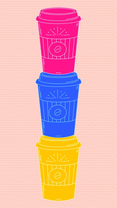 Stack of three neon-colored takeaway coffee cups
