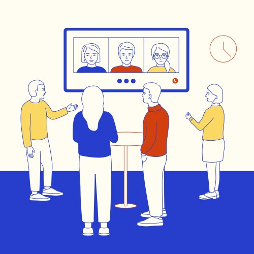 StandUp meeting with team members on a video call
