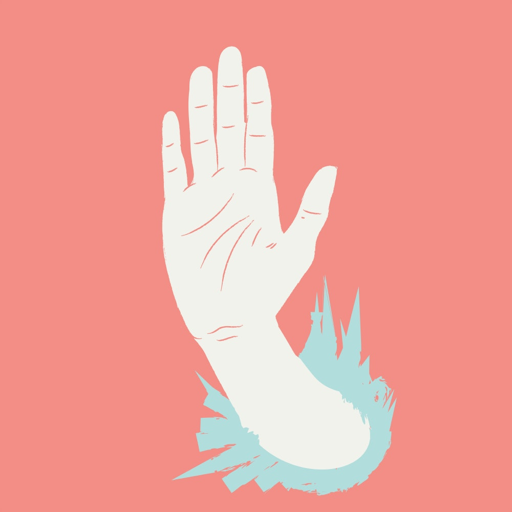 Stop hand gesture with palm held up