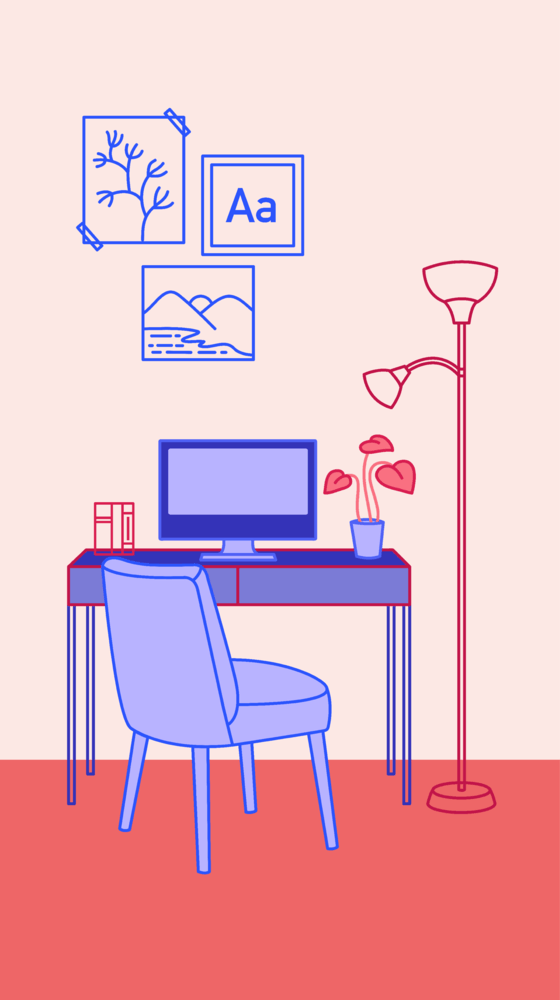 Study with a computer, desk, lamp and chair