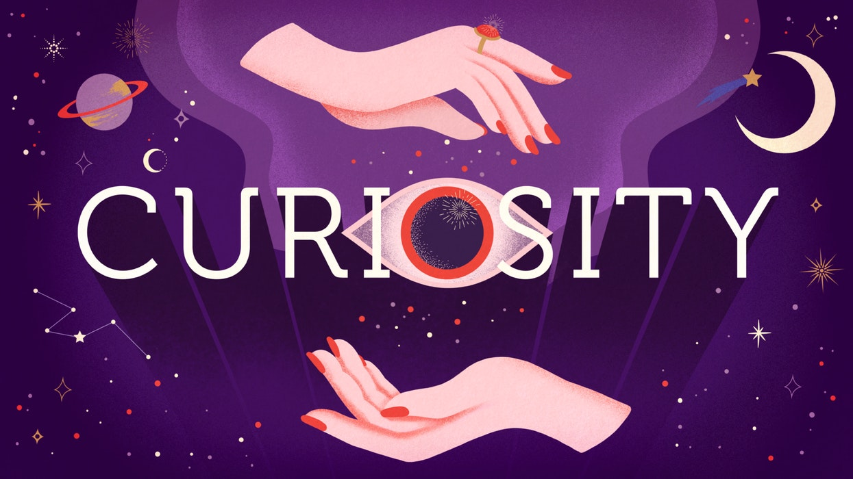 The word Curiosity cupped between two hands, surrounded by planets and stars, and an all-seeing eye.