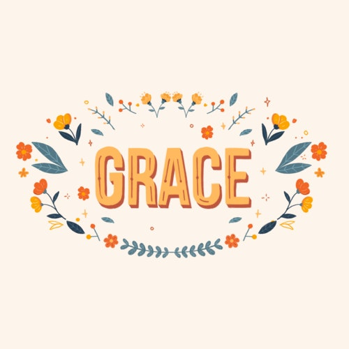 The word Grace circled by delicate flowers