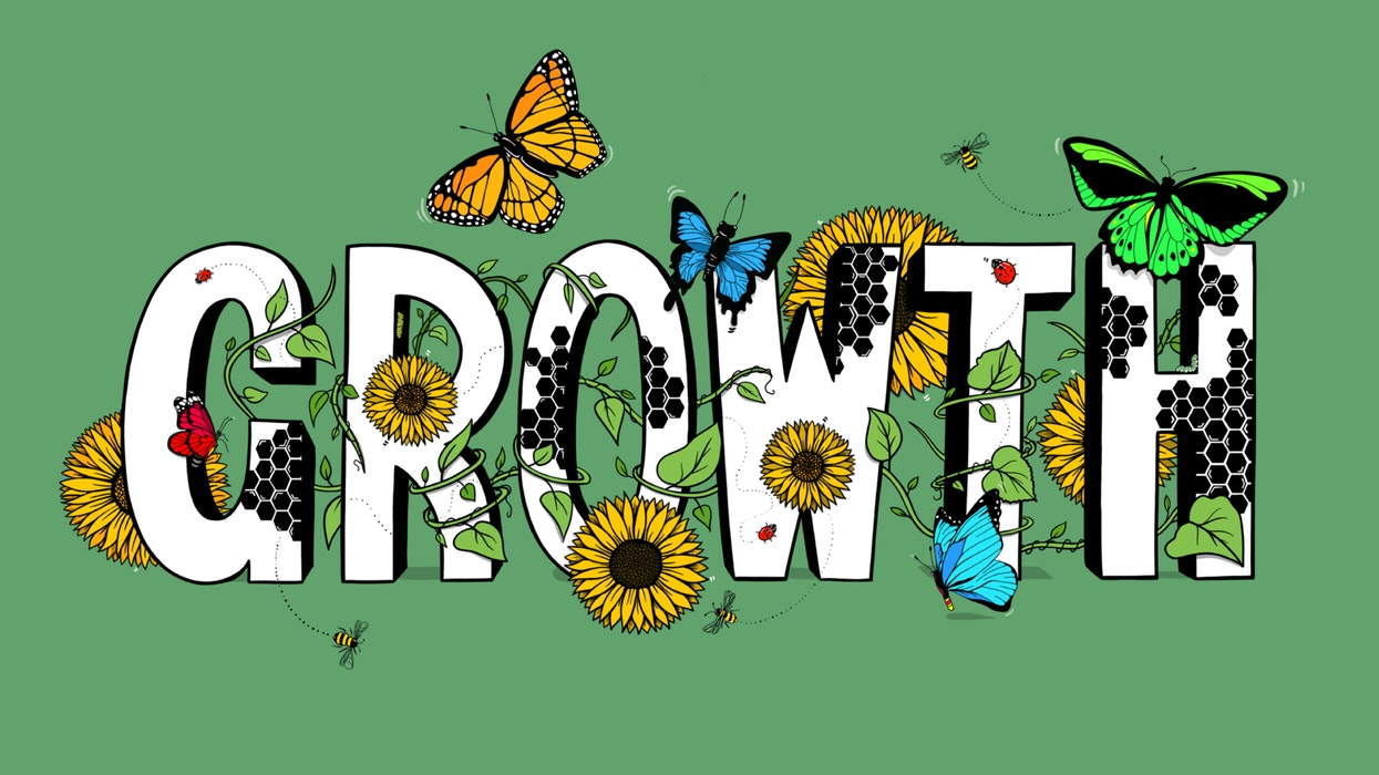 The word Growth covered in butterflies, sunflowers and vines