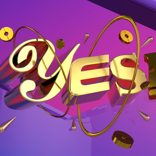 The word Yes featuring floating 3D objects