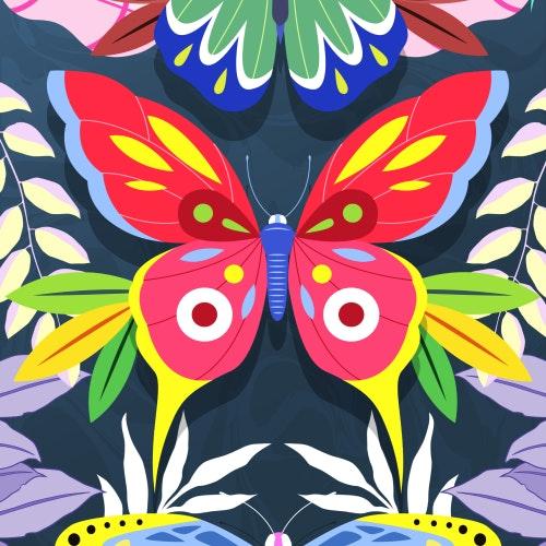Three butterflies flying in a rainforest