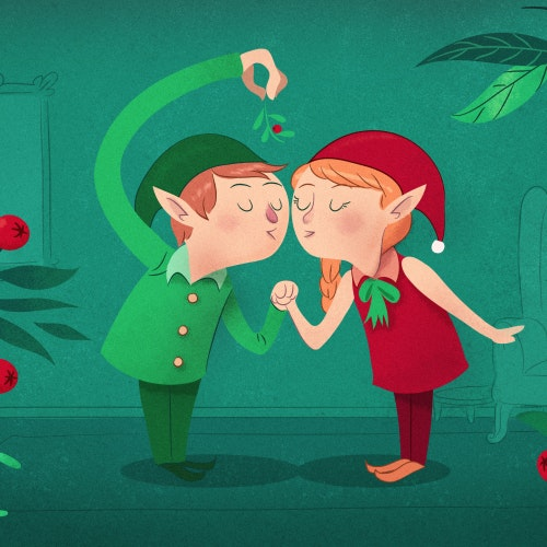 Two elves kissing under the mistletoe