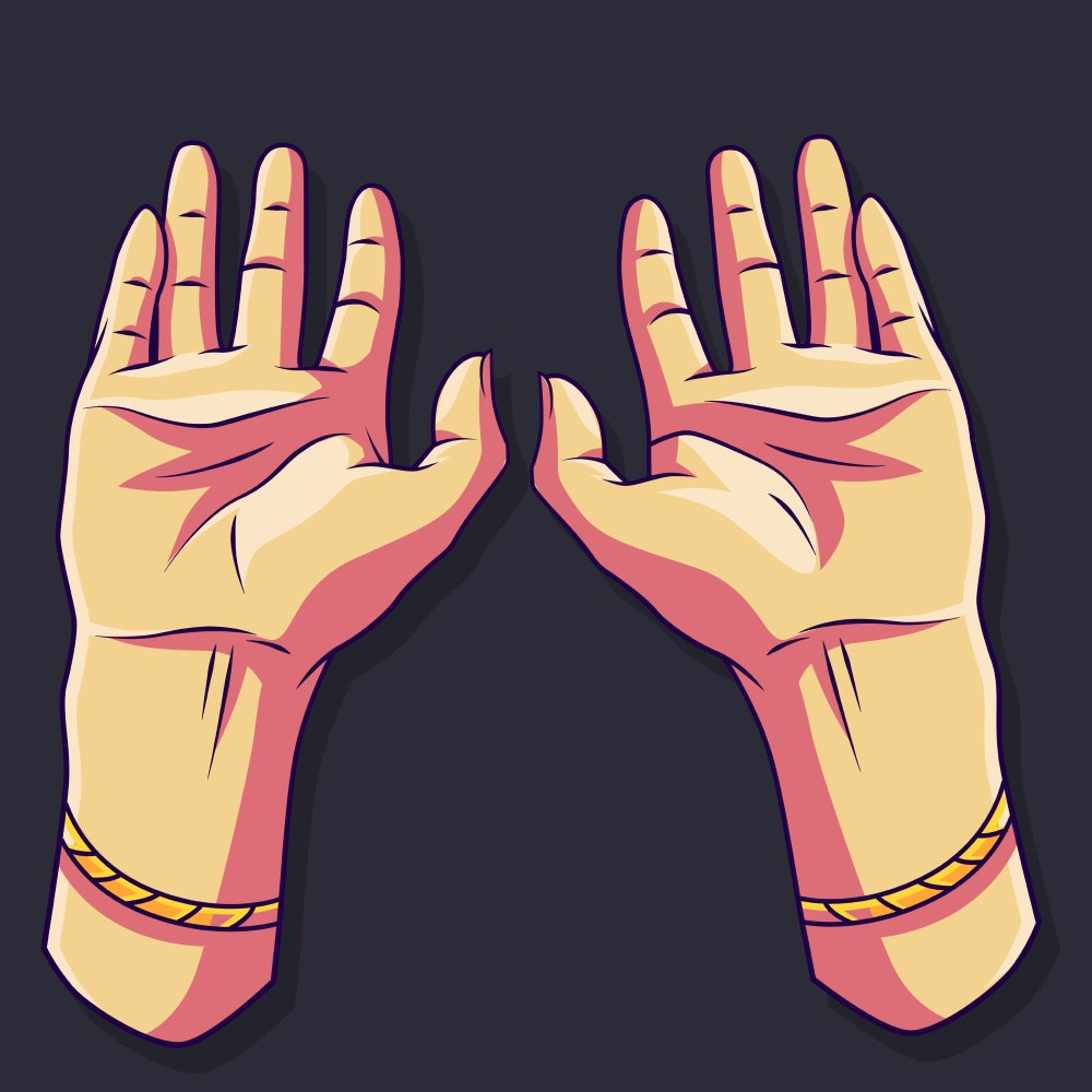 Two hands raised in gesture of praise
