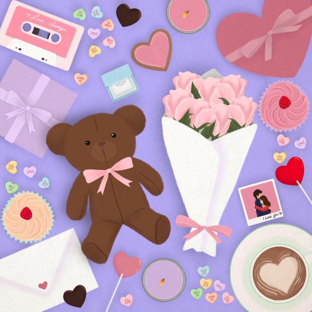 Valentine's Day gifts including flowers, a teddy bear, candy love hearts, a mix tape. and a card.