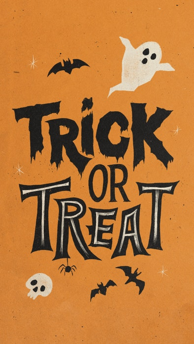 Vintage Trick or Treat Halloween poster with ghosts, bats, and spiders