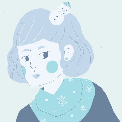 Woman in the wintertime