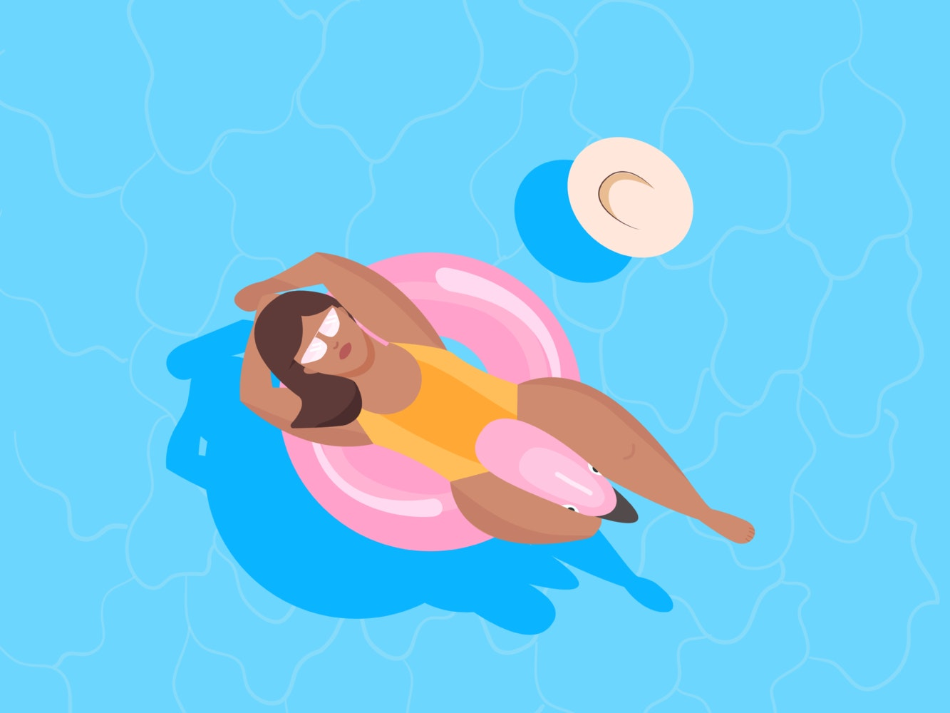 Woman relaxing in a pink flamingo pool float
