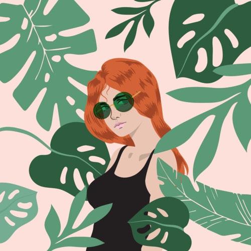 Woman wearing bright green sunglasses