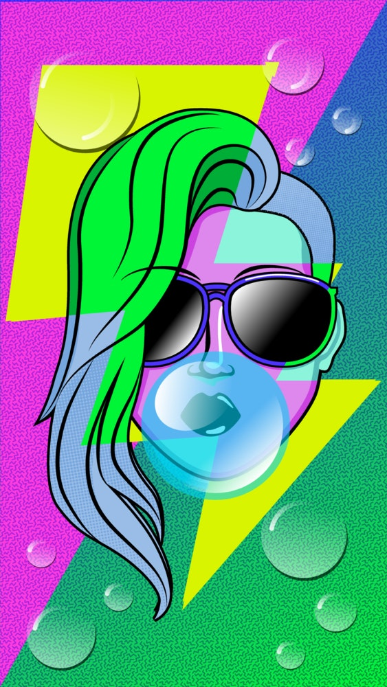 Woman with a retro, 80's style side-pony, blowing a big bubble