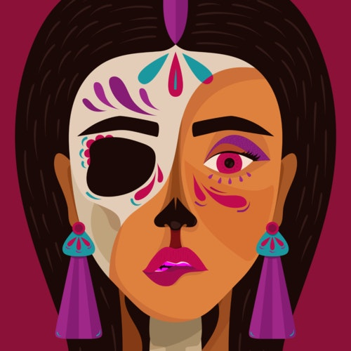 Woman with her face and body decorated for Day of the Dead