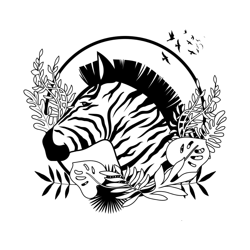 Zebra surrounded by plants and trees