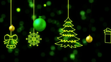2D animation of Christmas decorations on a black background