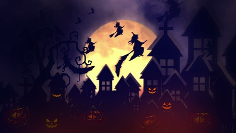 2D animation of witches flying on Halloween