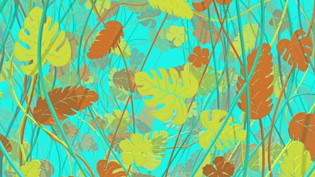 2D autumn branches and leaves on a blue background