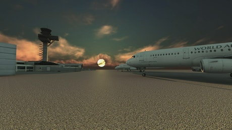 3D airport at sunset