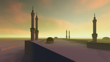 3D animation of a big mosque