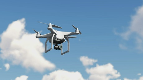 3D animation of a drone flying in the sky