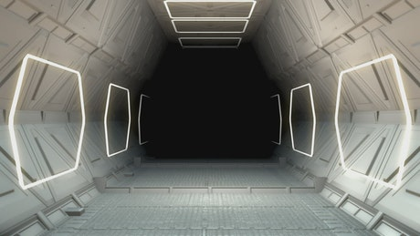 3D animation of a hallway in an alien ship
