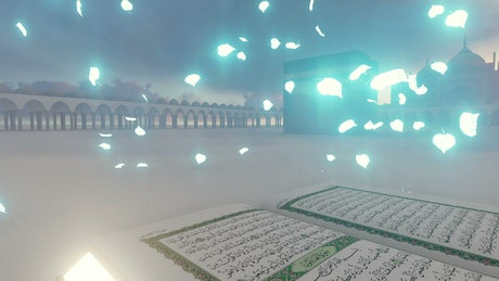 3D animation of a Quran near a temple