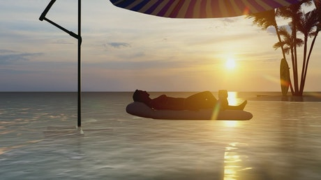 3D animation of a tourist sunbathing in a floaty