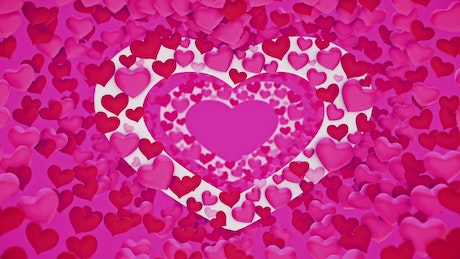 3D animation of pink, red and white hearts