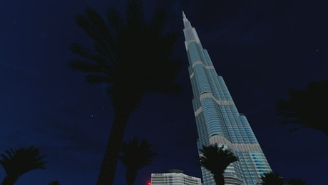 3D animation of the Burj Khalifa building at night