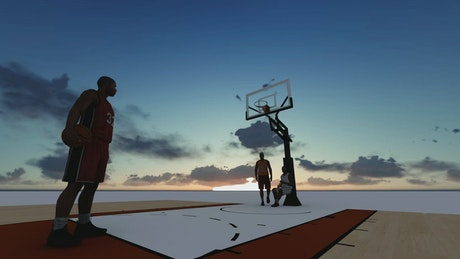 3D basketball players on a basketball court