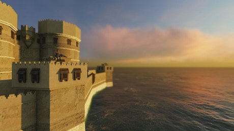 3D castle in the middle of the sea at sunset