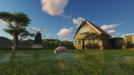 3D farm with a pig, a mill, a house and a tree