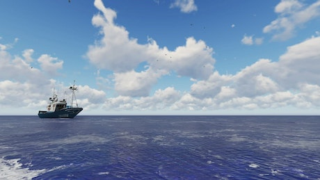 3D fishing boat sailing in the open sea under the sun