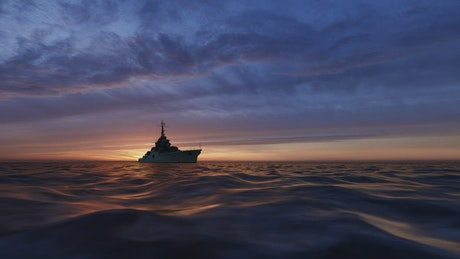 3D fishing boat sailing in the sea at sunset
